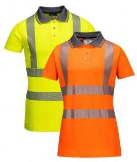 Polo de travail anti-UV haute visibilité femme